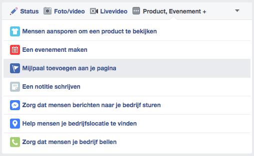 Voorbeeld uitklapmenu aanmaken mijlpalen Facebook